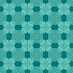 Seamless square pattern from turquoise geometrical abstract ornaments on a dark teal background. Vector illustration. Suitable for fabric, wallpaper and wrapping paper