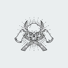 Vector illustration of black and white tattoo graphic human skull with axes and horns