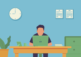 Work place. Office interior. Office work. Man is working at his laptop. Vector illustration