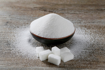 Granulated sugar and sugar cubes are seen in this picture illustration