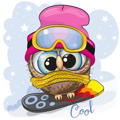Canvas Prints Owls cartoon Cute cartoon Owl on a snowboard