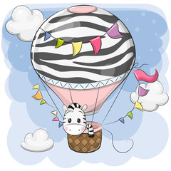 Cute Zebra is flying on a hot air balloon