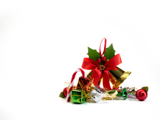 Christmas decoration items with small elements. flat lay decoration isolated on white background. Attributes of the New Year.