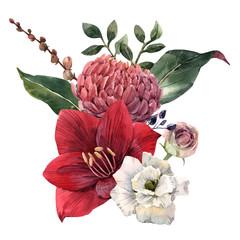 Fototapete - Watercolor flowers illustration