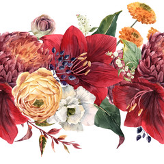 Fototapete - Watercolor floral pattern