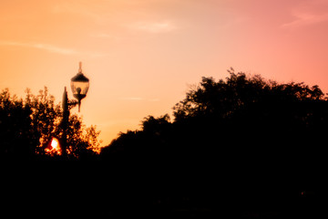 Silhouette of a lantern,  trees   colorful autumnal vanilla pink sky in background. Landscape with vivid colors during a sunset. Pastel tones during the autumn season beautiful nature background