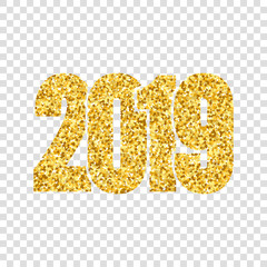 Happy New Year shiny gold number 2019. Golden glitter digits isolated white transparent background. Shiny design, light sparkle for Christmas celebration, greeting card, poster. Vector illustration