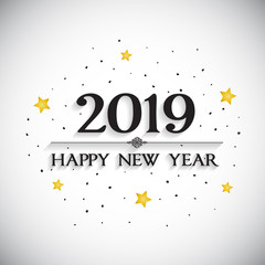 Happy new year card vector on white background.