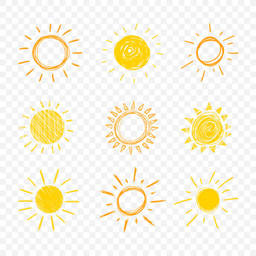 Vector Doodle Sun, Set of Hand Drawn Funny Icons on Transparent Background,.