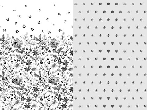 Set of two horizontal seamless floral pattern with paisley and fantasy flowers border. Hand drawn texture for clothes, bedclothes, fabric of the dress etc. Gray