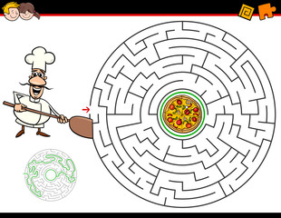 cartoon maze game with chef and pizza