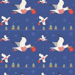 Christmas quirky seagulls with gifts seamless pattern. Cute hand drawn sea gull vector cartoon. Playful birds deliver x-mas presents. Holiday backdrop. Wallpaper, textile, web project design element