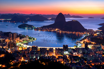 Wall Mural - Rio de Janeiro just before Sunrise, City Lights, and Sugarloaf Mountain