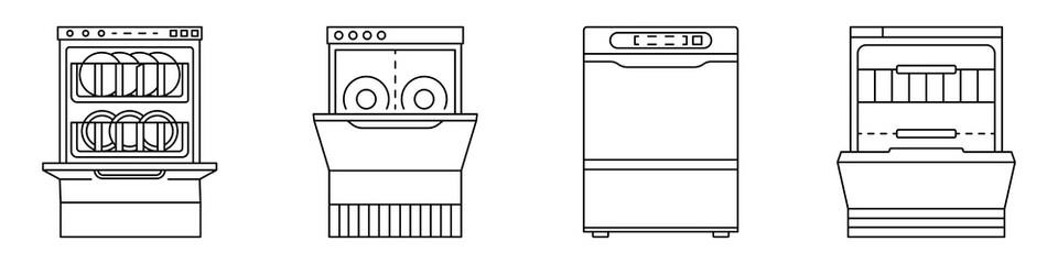 Dishwasher machine icon set. Outline set of dishwasher machine vector icons for web design isolated on white background
