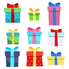 Set of nine gift boxes Vector Holiday Present