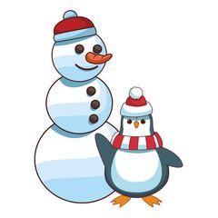 Snowman and penguin cartoon