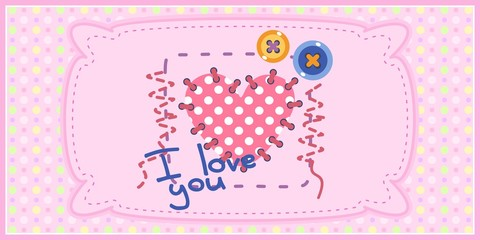 Card for girl with seamless texture with dots in the background. Can be used as print for clothes, cover design and others.
