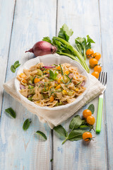 butterfly pasta with mixed vegetables