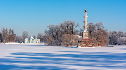 Grotto pavilion and Chesme column in Catherine park in winter, Tsarskoe Selo (Pushkin), St. Petersburg, Russia