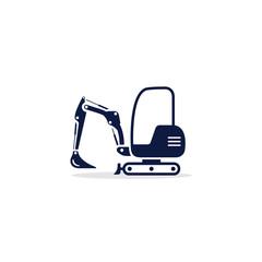 Excavator mini icon. Digger Illustration vector dig vehicle. Mini excavator flat illustration