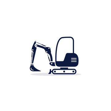 Excavator mini icon. Digger Illustration vector dig vehicle. Mini excavator flat illustration