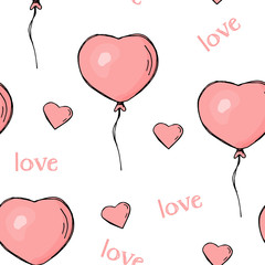 Seamless pattern with heart-shaped balloons and hearts. Colorful vector illustration in sketch style. Valentine's day.