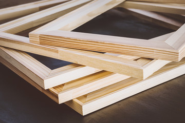 Wooden frames for stretching artistic canvas.