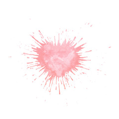 Hand painted watercolor splash texture in shape of heart. Pink paint blob isolated
