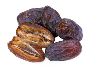 big ripe date - a piece cut in half sultanas, the core in the middle