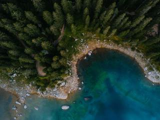 Lago di Carezza von oben