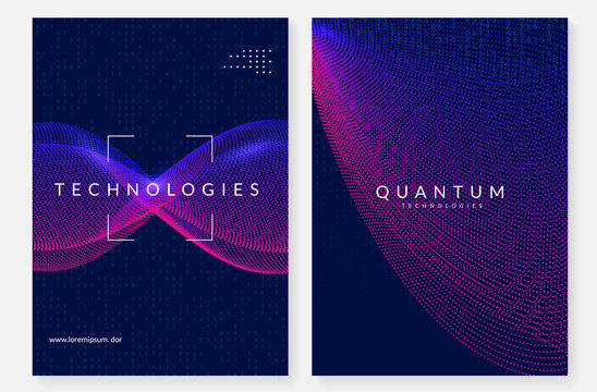 Quantum computing background. Technology for big data, visualization, artificial intelligence and deep learning. Design template for storage concept. Cyber quantum computing backdrop.