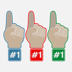 Set of multi-colored hands with a finger, index number one, winn
