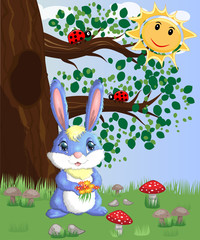 Blue bunny with a bouquet on a forest glade. Spring, love, postcard