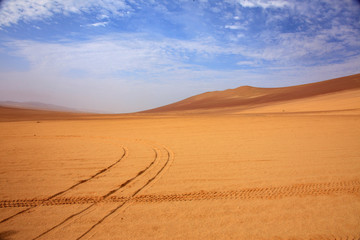 The desert in Paracas in Peru. Sun sea and sand