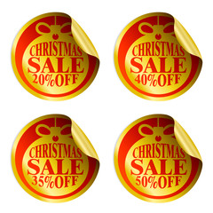 Christmas sale stickers with christmas ball 20,35,40,50 percent