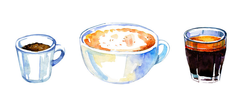 Coffee drinks watercolor set. Hand drawn sketch illustration with three mugs