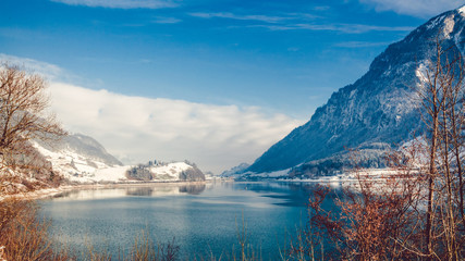 Lake with mountains. winter landscape