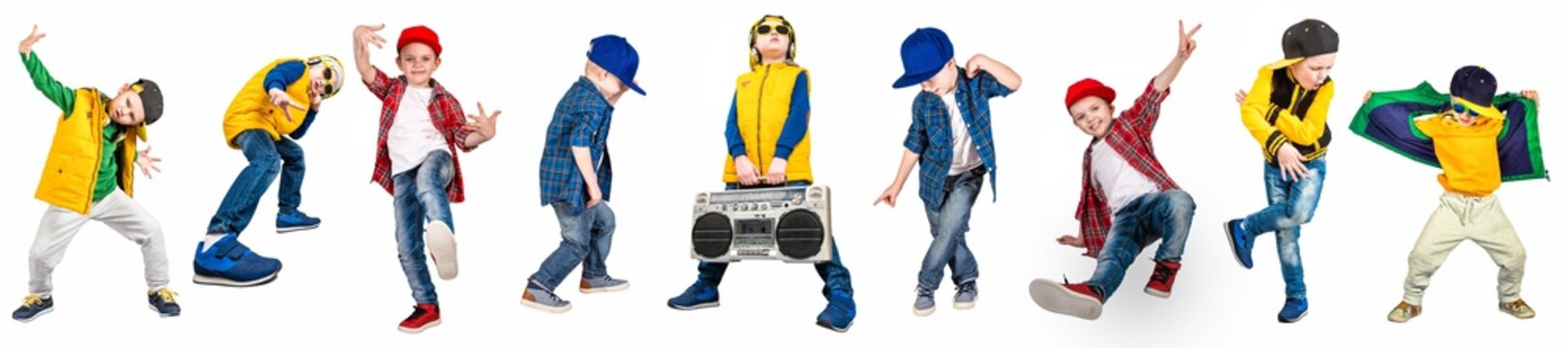 The boys in the style of Hip-Hop . Children's fashion.