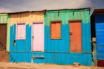 Peruvian home. Poverty in Peru, external and internal roads
