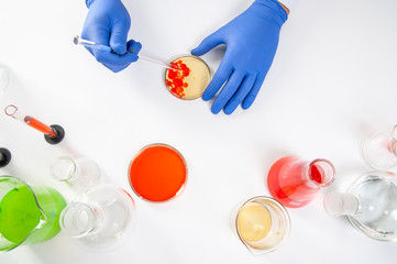 view of a human hands in the laboratory while performing experiments