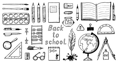Back to school. Doodle symbols and objects. set of elements for banner or poster. Cute funny icons for school and student life. Vintage retro style. Engraved hand drawn.