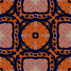 Ikat Style with circles & squares