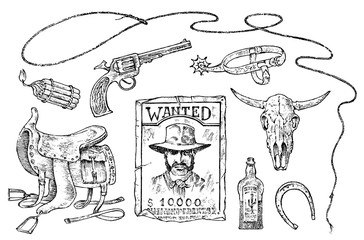 Set of cowboys. Western icons, Texas Rangers. Wild West. Portrait of a criminal man, sheriff and saddle, skull of a bull, whip revolver trap. Vintage Engraved hand drawn sketch.
