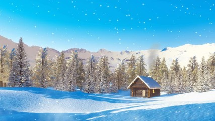 Wall Mural - Peaceful winter landscape - solitary log cabin with smoking chimney among snow covered pine forest high in mountains at wintry day during snowfall. 3D animation in cinemagraph style rendered in 4K