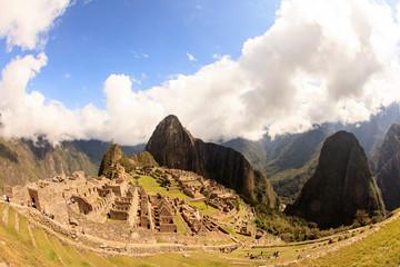 Machu Picchu in Peru, inca fortress that rises in the Peruvian Andes