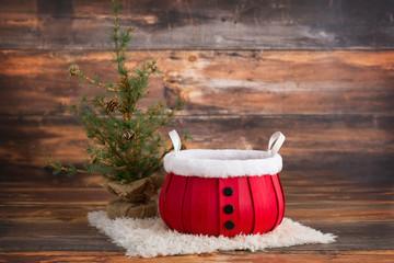 Santa Bucket Newborn Digital Background