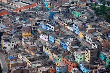 The city of Lima in Peru. Houses roads and cars