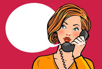 Girl or young woman talking on the phone. Telephone conversation. Vector illustration