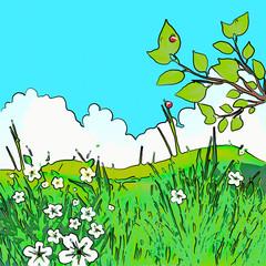 Photo sur Plexiglas Turquoise Esquisse d'un paysage champêtre