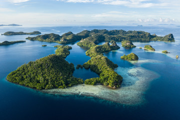 Aerial View of Amazing Limestone Islands and Reefs in Raja Ampat